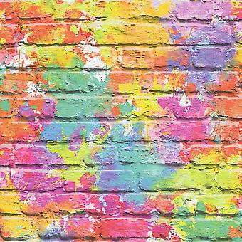 Pintado de ladrillo 3D efecto papel pintado pintura multicolor Splash pizarras piedra rústico