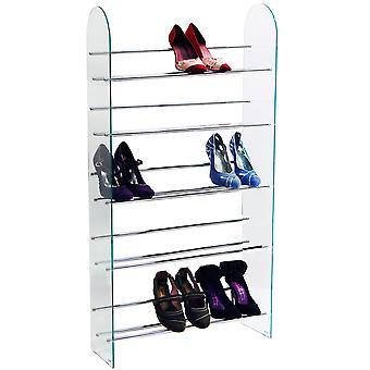 Louxor - 5 Niveau 15 Paire de stockage de chaussure Rack Shelf - Verre / Chrome