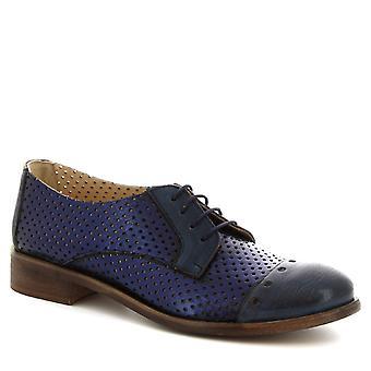 Leonardo Shoes Women's handmade oxford shoes in blue openwork calf leather