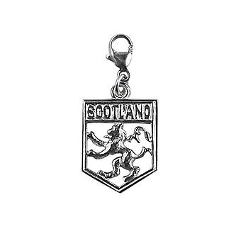 Silver 17x14mm Scotland Badge with Rampant Lion Charm with a lobster catch