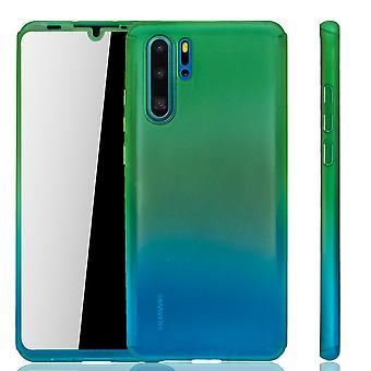 Huawei P30 Pro Funda de protección de la funda del teléfono cubierta completa del tanque de protección del vidrio verde / azul