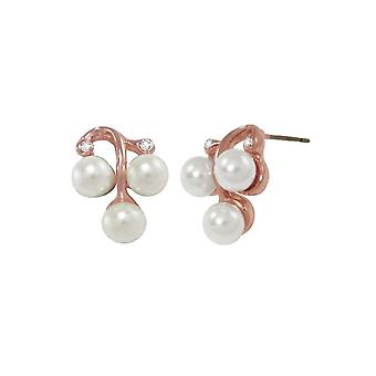 Eternal Collection Orchestral White Pearl Diamante Rose Gold Tone Stud Pierced Earrings
