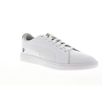 Puma BMW MMS Smash V2 mens vitt läder låg topp spetsar upp sneakers skor
