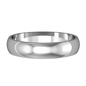 Jewelco London 18ct White Gold - 4mm Essential D-Shaped Band Commitment / Wedding Ring