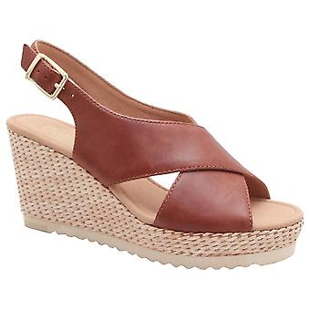 Gabor Tan Cross Strap flätade kil sandal
