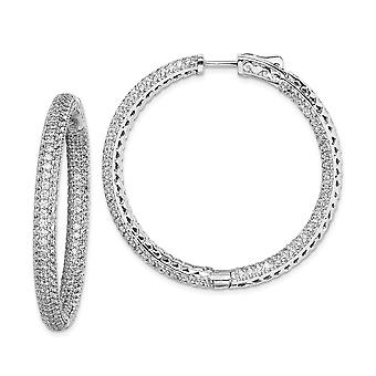 925 Sterling Silver Polished Hinged hoop Safety clasp Rhodium-plated Rhodium Plated Cubic Zirconia In and Out Pave Hoop