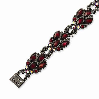Box Closure Black-plated Red Crystal 7.25inch Bracelet