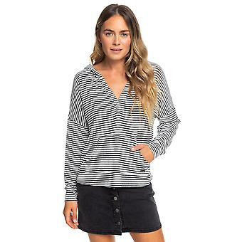 Roxy Young Womens Sweet Thing Hooded Long Sleeve Top - Anthracite Marina Stripes