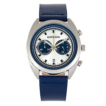 Breed Racer Chronograph Leather-Band Watch w/Date - Silver/Blue