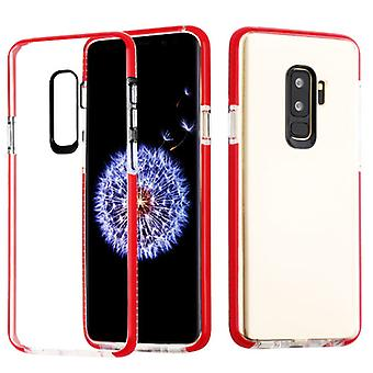 Transparent Clear/Red Bumper Sturdy Candy Skin Cover for Galaxy S9 Plus