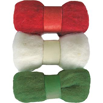 Feltworks Roving Trio Pack 1.58Oz Red, White & Green 72 08256