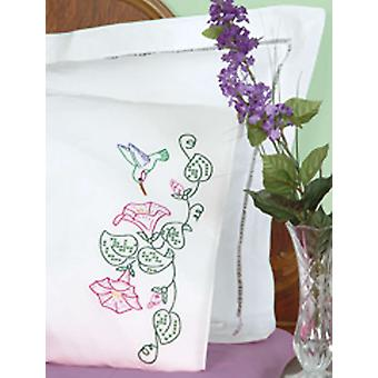 Stamped Pillowcases With White Perle Edge 2 Pkg Hummingbird & Morning Glories 1600 293