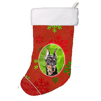 German Pinscher Red Snowflakes Holiday Christmas Stocking