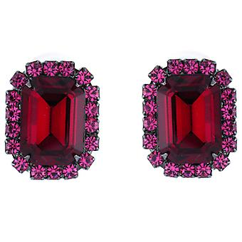 Kenneth Jay Lane Siam rouge & rose Clip rectangulaire cristal Swarovski boucles d'oreilles