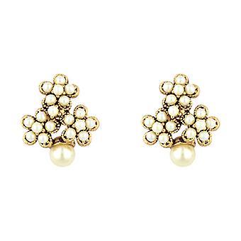 Butler  and  Wilson Faux Pearl Flowers Stud Earrings