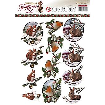 Find It Trading Amy Design Punchout Sheet-Christmas Animals SB10114