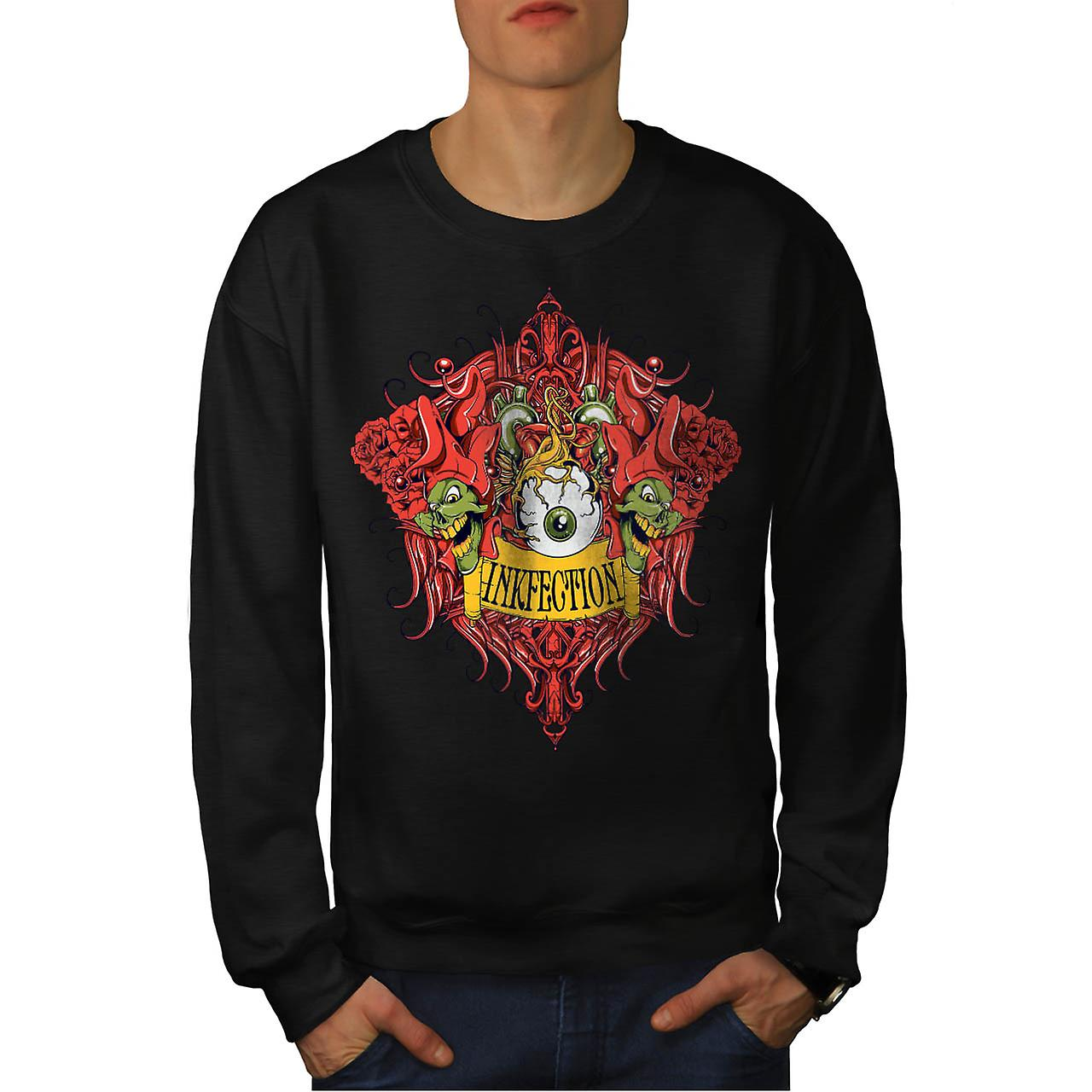 Ink Infection Tattoo Grinch Eye Men Black Sweatshirt | Wellcoda