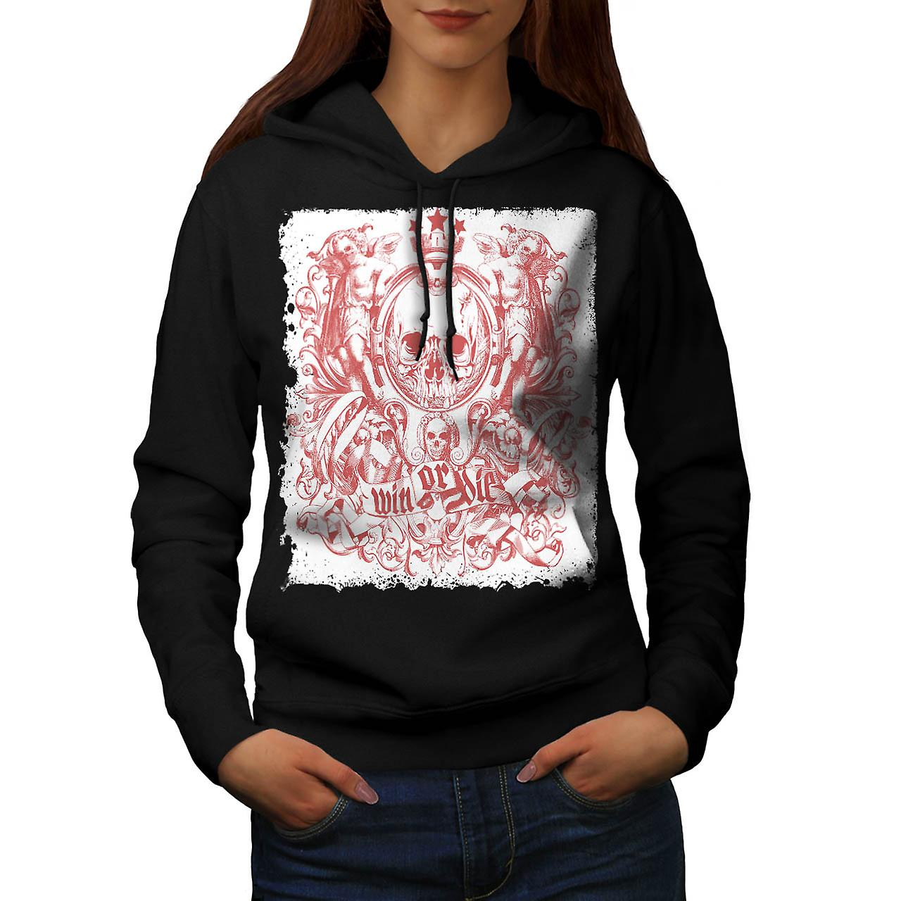 Win Die Death Skull Royal Crown Women Black Hoodie | Wellcoda