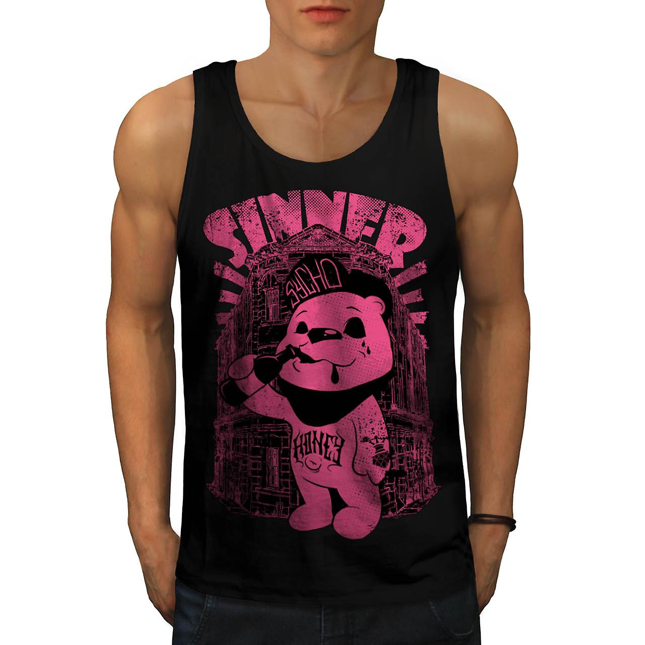 Sinner Teddy Ted Bear Psycho Cub Men Black Tank Top | Wellcoda
