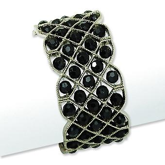 Silver-tone Black Crystal Stretch armband