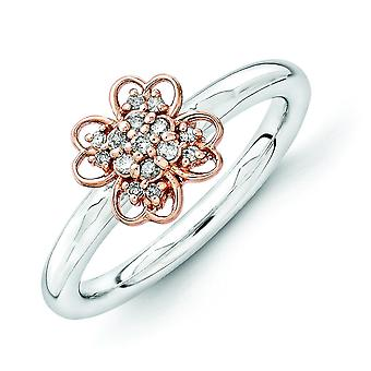 2.25mm Sterling Silver and 14k Rg-plated Stackable Expressions Diamond Flower Ring - Ring Size: 5 to 10