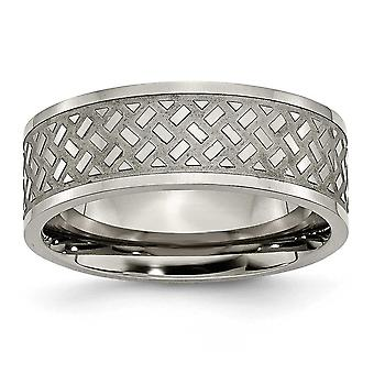 Titanium Engravable Weave Design 8mm Polished Band Ring - Ring Size: 6 to 14