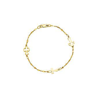 14k gule gull 7.0 tommers polsk kabel kjeden hummer lås og stasjon åpne krysse symbolsk armbånd
