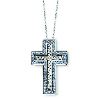 Sterling zilveren December CZ Cross Necklace - 18 Inch
