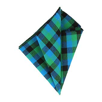 Mr. icone handkerchief Hanky Cavalier cloth dark blue Plaid light blue green