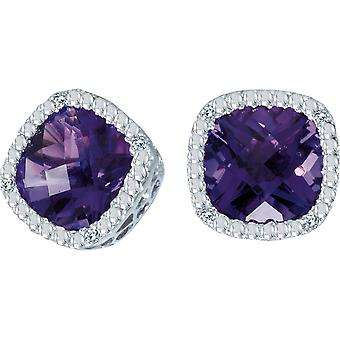 14k White Gold Cushion Cut Amethyst And Diamond Earrings