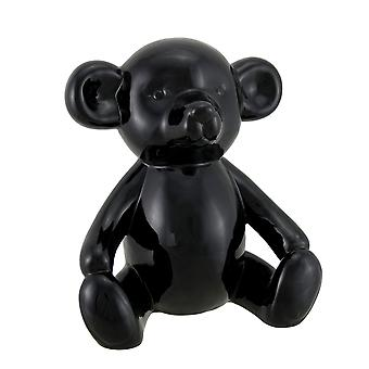 Large Glossy Black Ceramic Teddy Bear Statue 8 1/2 Inch