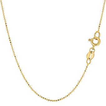 14k Yellow Gold Diamond taglio catena collana, 1.0mm