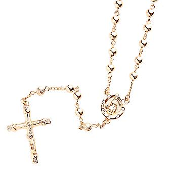Iced out bling Rosary necklace - red gold