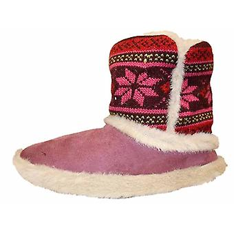 New Ladies Cooler Slipper Knitted Top And Microsuede Warm Snugg Boot 307