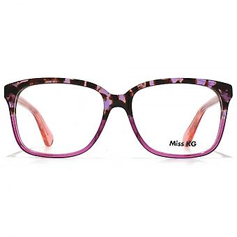 Miss KG Retro Rectangle Glasses In Purple Tortoiseshell Gradient
