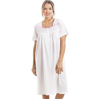 Camille Soft Cosy Knee Length Short Sleeved Pink Polka Dot Nightdress
