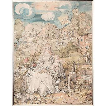 Albrecht Durer - Mary among a Multitude of Animals Poster Print Giclee