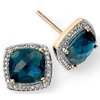 9 ct Gold Blue Topaz And Diamond Earring With