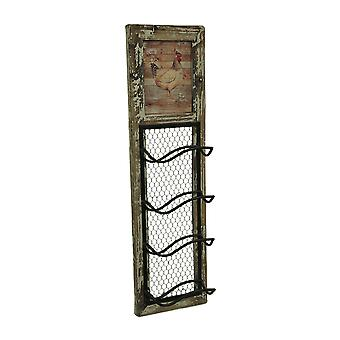 Rustic Rooster Wall Mounted 4 Bottle Wine Rack