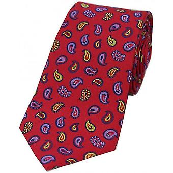 David Van Hagen Teardrop Paisley Silk Tie - Red