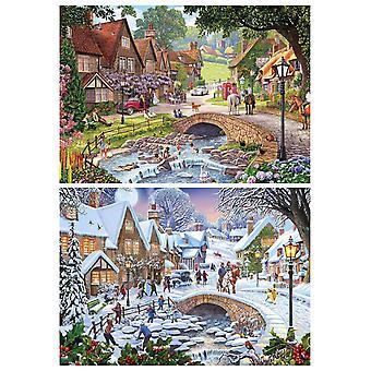Gibsons estate giorni & fiocchi di neve Jigsaw Puzzle (2 x 500 pezzi)