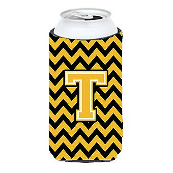 Letter T Chevron Black and Gold Tall Boy Beverage Insulator Hugger