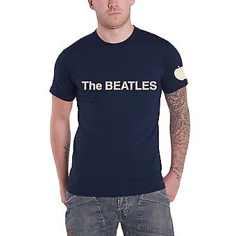 The Beatles T Shirt band Logo & Apple applique new Official Mens Navy Blue