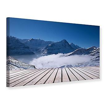 Lærred Udskriv solterrasse i de schweiziske alper
