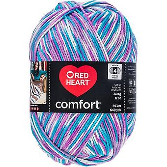 Red Heart Comfort Yarn-White, Turquoise & Violet Print E707D-4111