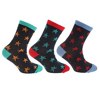 Childrens/Boys Cotton Rich Space/Star Design Socks (Pack Of 3)