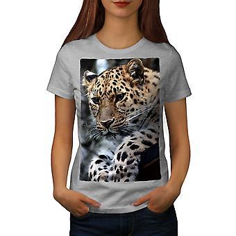 Leopard Nature Animal Women GreyT-shirt | Wellcoda