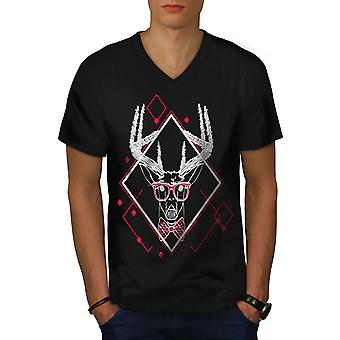 Christmas Deer Men BlackV-Neck T-shirt | Wellcoda