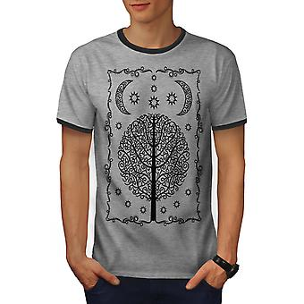 Ornament Life Tree Men Heather Grey / Heather Dark GreyRinger T-shirt | Wellcoda