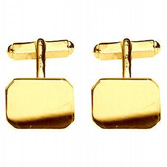 18ct Gold 18x12mm cut corner plain swivel Cufflinks